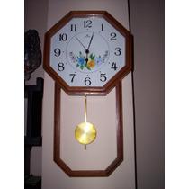 Reloj De Péndulo Sin Sonería De Madera Octagonal Decorado
