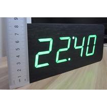 Reloj Led Minimalista Madera Temperatura Sensor Envio Gratis