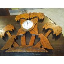 Reloj De Pared De Algarrobo, Bariedad De Diseño Artesanal