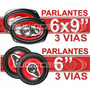 Combo Parlantes 6x9 + 6 Pulgadas 850w 3 Vias Lyf Bf6900+6000
