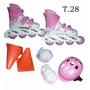 Roller Rosa +casco Codera Rodille Talle 28 / Open-toys Avell
