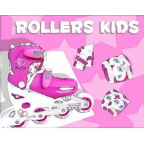 Rollers Kids Set Talle 27-30 P/ Nena Color Rosa/blanco