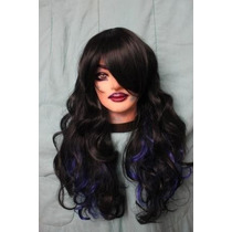 Peluca Negra Mechas Azul Degrade Mix Pelo Natural Look Termo