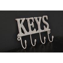 Porta Llaves Llavero Keys Hierro Decapado Blanco