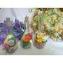 Souvenir Botellitas Chianti Con Sales Y Flores De Porcelana
