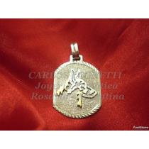 Medallón Con Perro Ovejero Alemán - Plata 950 - Oro 18k