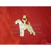 Airedale Terrier - Dije En Plata 950 Y Oro 18k