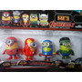 Set Minions X 4 Personajes Ideal Decoración Adorno Tortas