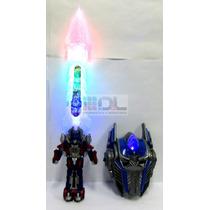 Máscara + Espada Transformers Optimus Bumblebee Luz Sonidos