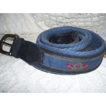Antiguo Cinturon De Tela Con Gamuza