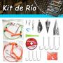 Kit De Pesca De Río Anzuelos Plomadas Líneas Accesorios Caja