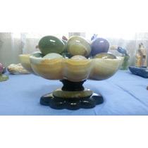 Escultura Fuente De Onix Naranja Con Huevos En Piedra