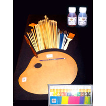 Oleos Paleta Pinceles Espátula Para Pintura Y Arte
