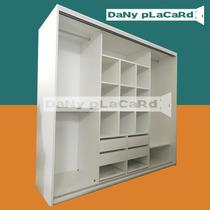 Placard 2 Ancho X 182 Alto - Melamina Blanco Rieles Aluminio