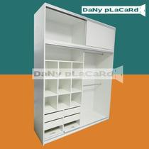 Placard 1.80 Ancho X 240 Al- Melamina Blanco Rieles Aluminio