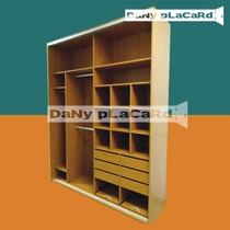 Placard 2 Ancho X 260 Alto - Melamina Color Rieles Aluminio