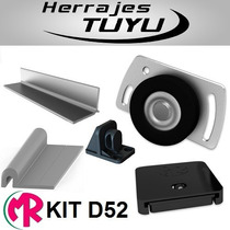 Kit Placard D52 Guias De Aluminio 2mt Ruedamas Herrajes Tuyu