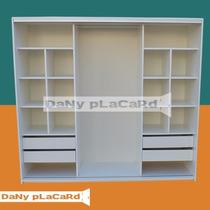 Placard 180 Melamina 18m Blanco Riel Aluminio Doble Cajonera