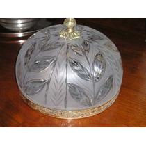1063- Excelente Plafon Cristal Tallado Y Bronce