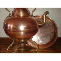 Vintage Pava Con Calentador Alcohol Y Plato De Cobre Bronce