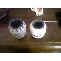 Artesanía Original Par De Floreros De Ceramica