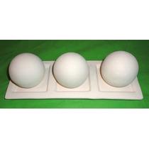 Bandeja Con 3 Esferas En Bizcocho Cerámico