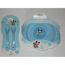 Set Plato Y Cubiertos Bebé Mickey-minnie- Kitty-pooh-disney-