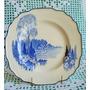 Plato De Pared Art Decó Myott Sons & Co Azul Cobalto