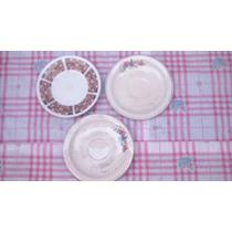 Lote De Trés Platitos De Porcelana Para Posillos De Café