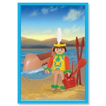 Playmobil Indio Con Canoa Original Antex