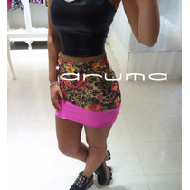 Pollera Mini De Lycra Lisa Y Estampada Aruma Exclusivas!