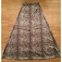 Pollera Larga De Leopardo/animal Print - Tipo Raso Divina