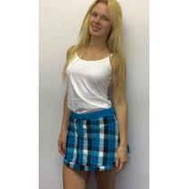 Minifalda Cuadrillé Con Mini Short, Importada! Nueva