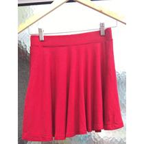 Minifalda Acampanada Roja,tela Fresca Y Flotante