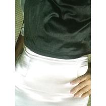 Pollera Minifalda - Plateada - Raso Elastizado - T.xs