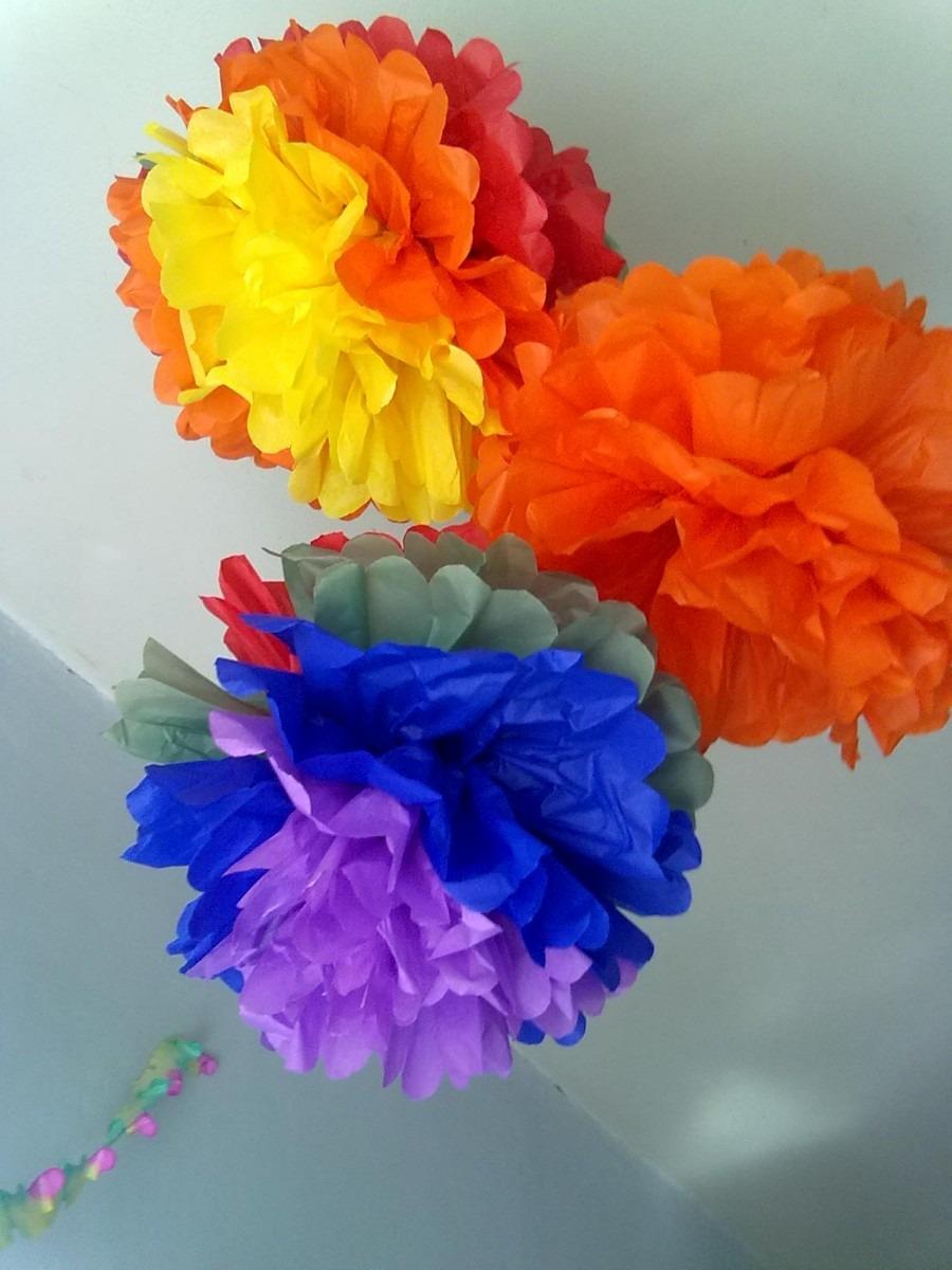 Como hacer topiarios de flores de tela - Pompones con papel de seda ...