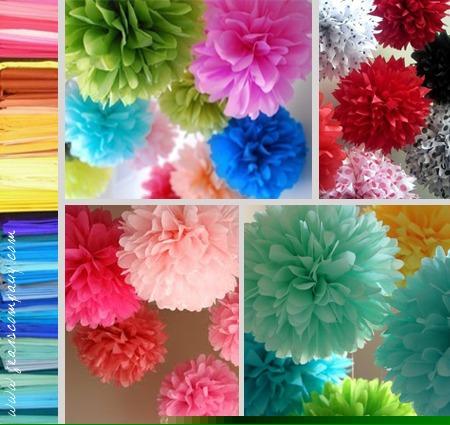 Como hacer banderines de papel imagui - Pompones con papel de seda ...