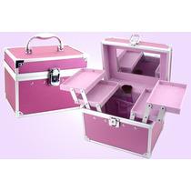 Alhajero Maletin Violeta Porta Cosmetico 4 Bandejas Forrado