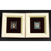 Historical*- 2 Retratos Miniatura Óleo Sobre Impresión-envío