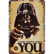 Carteles Antiguos Chapa Darth Vader Star Wars 60x40cm Fi-352