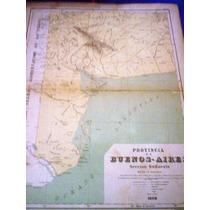 Antiguo Mapa De La Provincia De Buenos Aires 1885