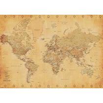 Mapa Estilo Vintage - Poster Importado De 100 X 140 Cm