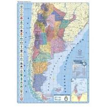 Mapa Mural Argentina Simple Faz - Político Con Rutas