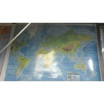 Mapa Mural Laminado Planisferio 95x130 Fisico Con Varillas