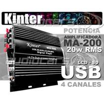 Potencia Amplificador Moto Auto Usb Sd Lcd Radio 20rms Ma200