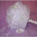 Ramo De Novias Organza Cristal Con Broches Perlas + Botonier