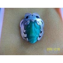 Prendedor O Broche En Plata C/piedra Jade