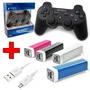 Joystick Ps3 Sony Negro + Power Bank 2600mah + Cable Carga