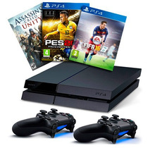 Playstation 4 Ps4 500gb + 2 Controles Dualshock + Juego!!!