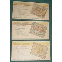 Tres Tarjetas Recetario Domestico Chocolates Aguila Saint